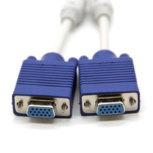 Kualitas Tinggi 1 Pcs VGA Splitter Kabel 1 Dual 2 Monitor 15pin Dua Port Male Ke Female Kabel VGA Video Y Splitter(China)
