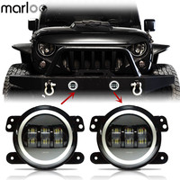 Marloo Pair 4 Inch LED Fog Lamp White Amber Green Blue Red Pink DRL Halo Angle Eyes Light For Chrysler Dodge Jeep Wrangler JK