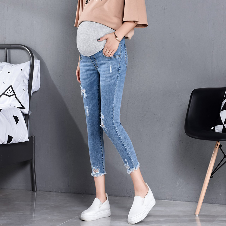 Summer Autumn Fashion Maternity Jeans High Waist Belly Skinny Pencil Pants Clothes for Pregnant Women Pregnancy image