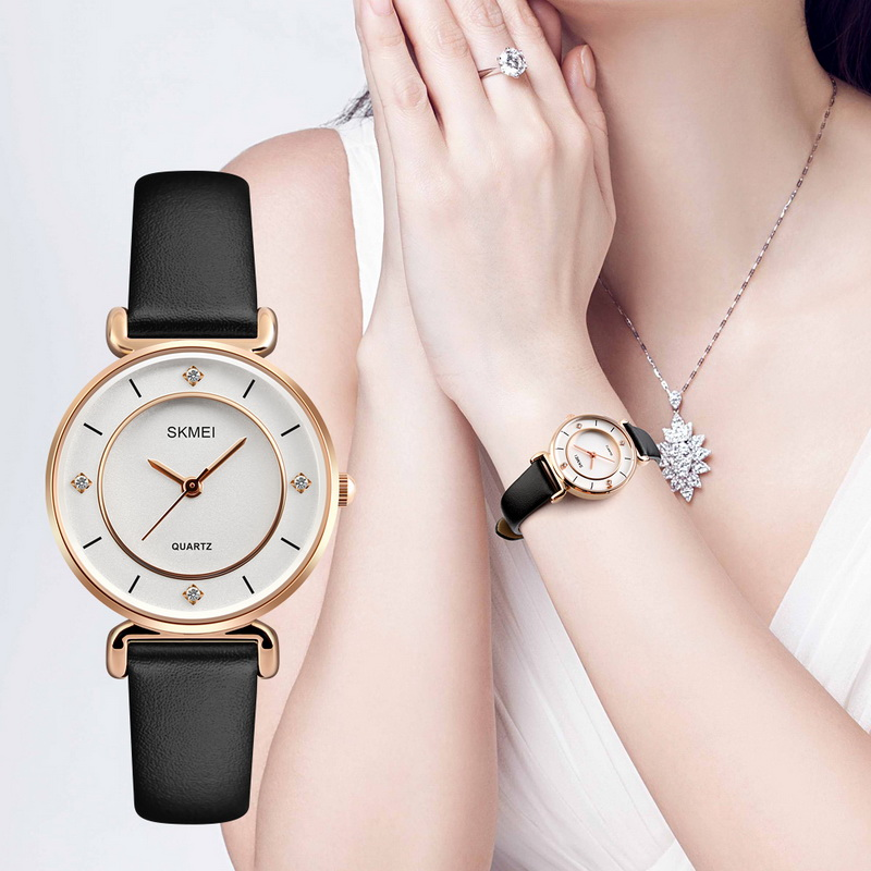 SKMEI Quartz Wristwatches Women Watches Montre Femme Women's Watches Crystal Diamond Dress Watch Women's Casual Leather Quartz quartz wristwatches montre femme fashion casual creative watches women leather bracelet analog wrist clock watch 18jan25