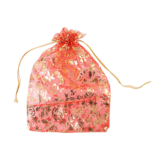Large Size 18 26cm 50pcs Lot Organza Jewelry Packaging Bags Pouches Red Printed