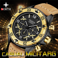 NORTH Brand Men Watches Casual Leather Analog Gold Watch Men Quartz Chronograph Sport Watches Military Clock Relogio Masculino