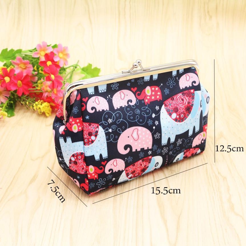 Naivety Canvas Coins Purses Animal Printing Coin Purse Small Hasp Elephant Prints Wallet Bag 30S71213 drop shipping