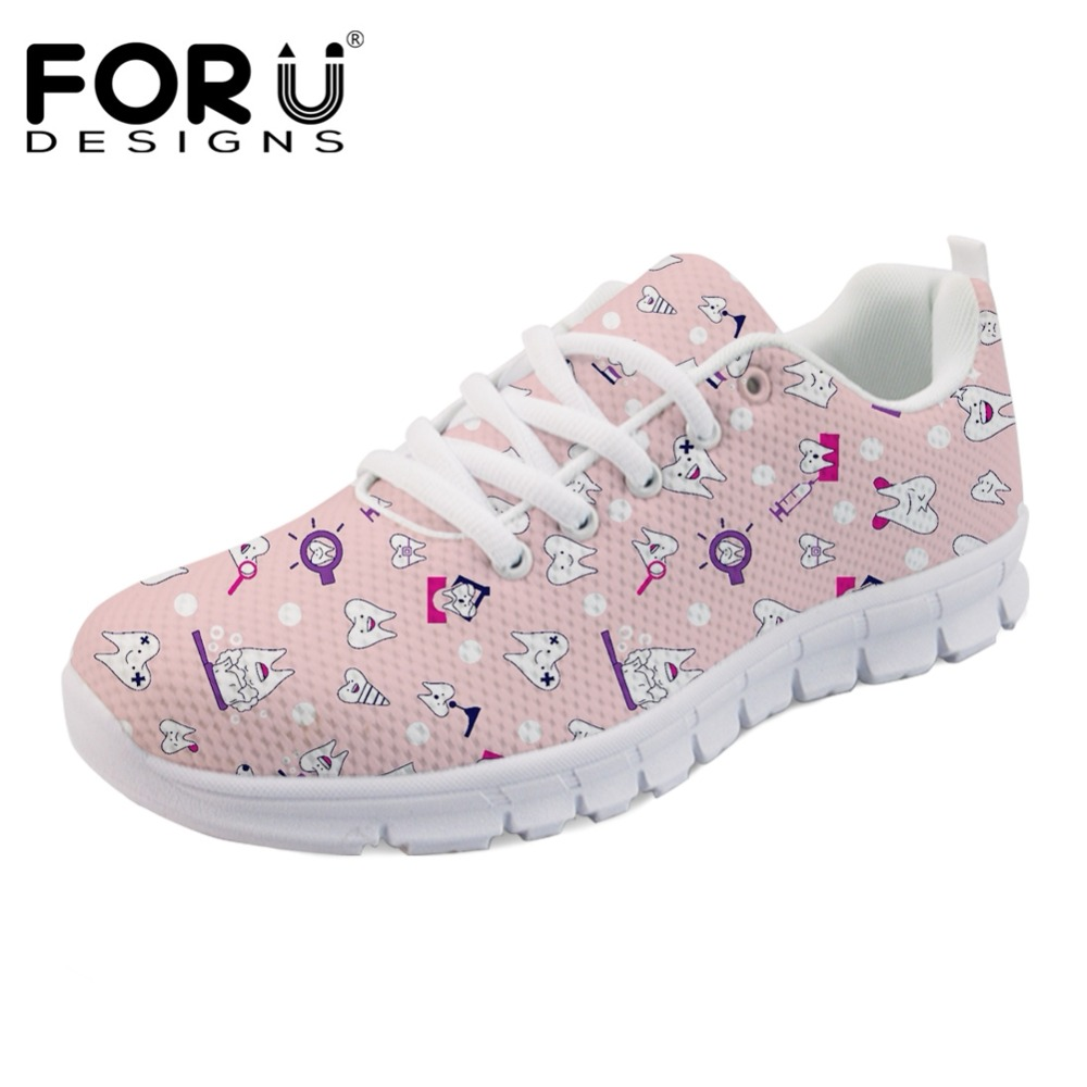 FORUDESIGNS New Cartoon Cute Dentist Brand Designer Women Sneakers Flats Super Light Comfortable Leisure Dentista Zapatos Mujer