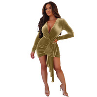 Adogirl Women Solid Asymmetrical Draped Mini Dress Long Sleeves V Neck Vestidos Casual Bodycon Dress Female Apparel Outfit