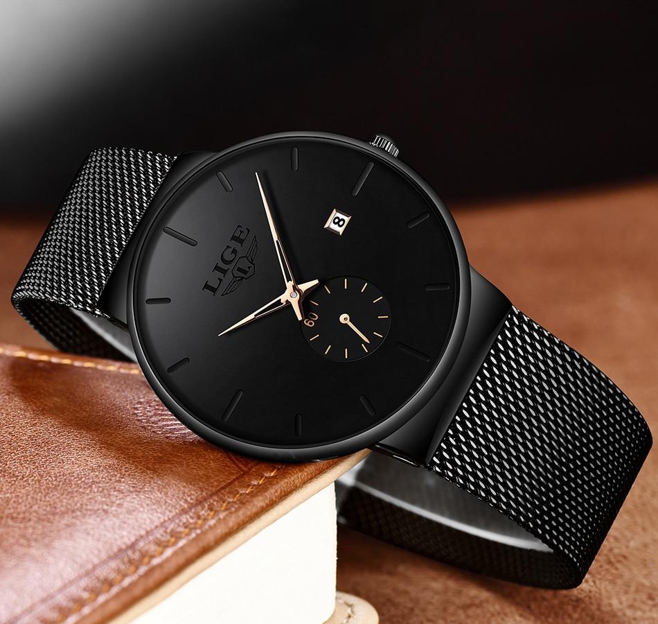 HTB115WlXhD1gK0jSZFyq6AiOVXac 2019 LIGE Mens Watches Top Brand Luxury Fashion Wrist Watch For Men Quartz Clock Clock Male Ultra-Thin Mesh Belt Waterproof+Box
