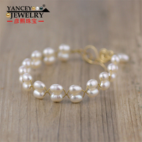 YANCEY Natural White rice pearl Handmade Bangles bracelets for women, with S990 silver and 9k gold Bohemia fashion bracelets