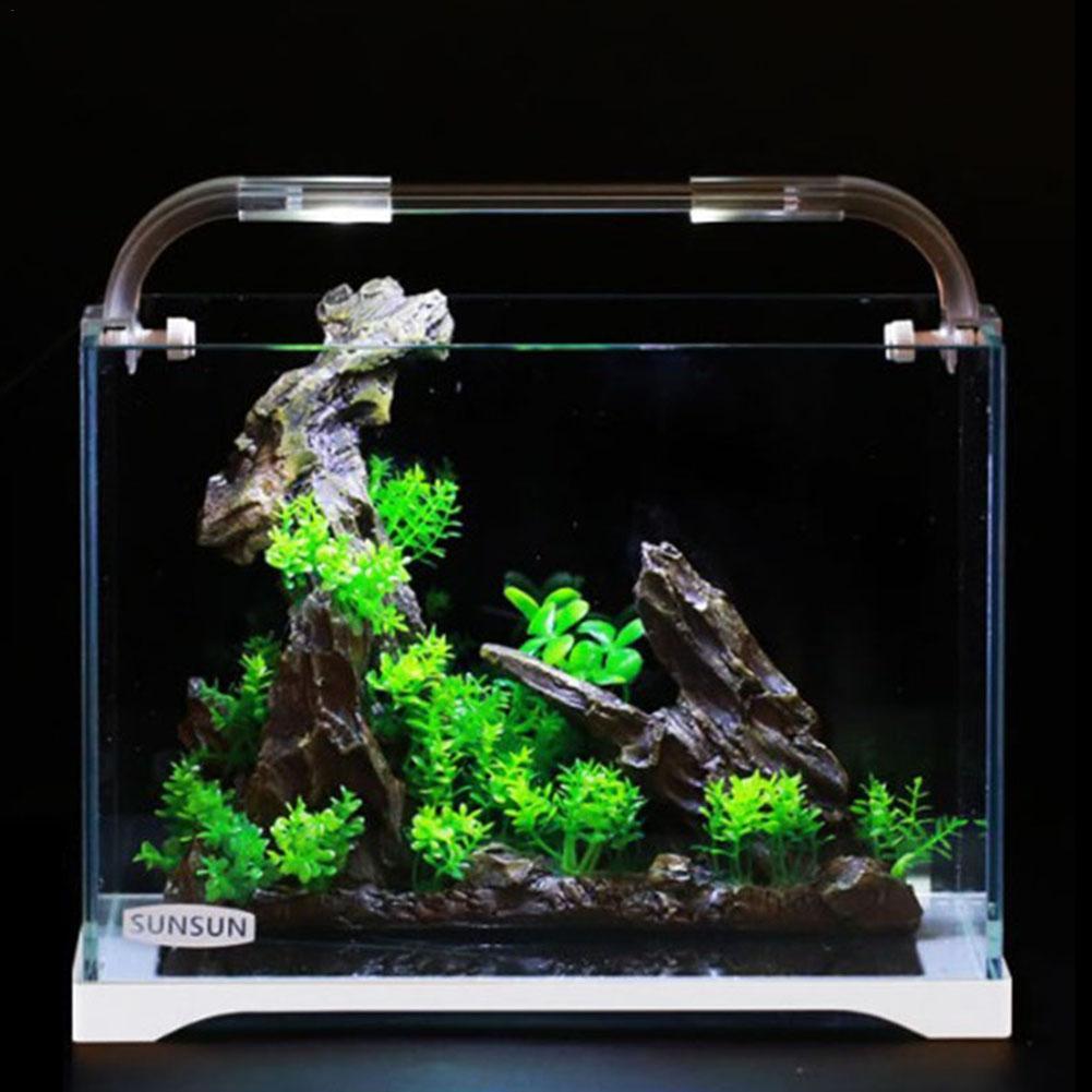 Aquarium Aquarium verre Ultra-blanc petit réservoir nu eau herbe cylindre salon eco-cylindre taille moyenne bureau Aquarium - 4