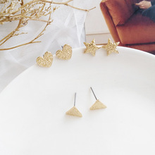 все цены на Fashion Jewelry Delicate Earrings Golden Zinc alloy Triangle Star Heart Earrings For Women Gift онлайн