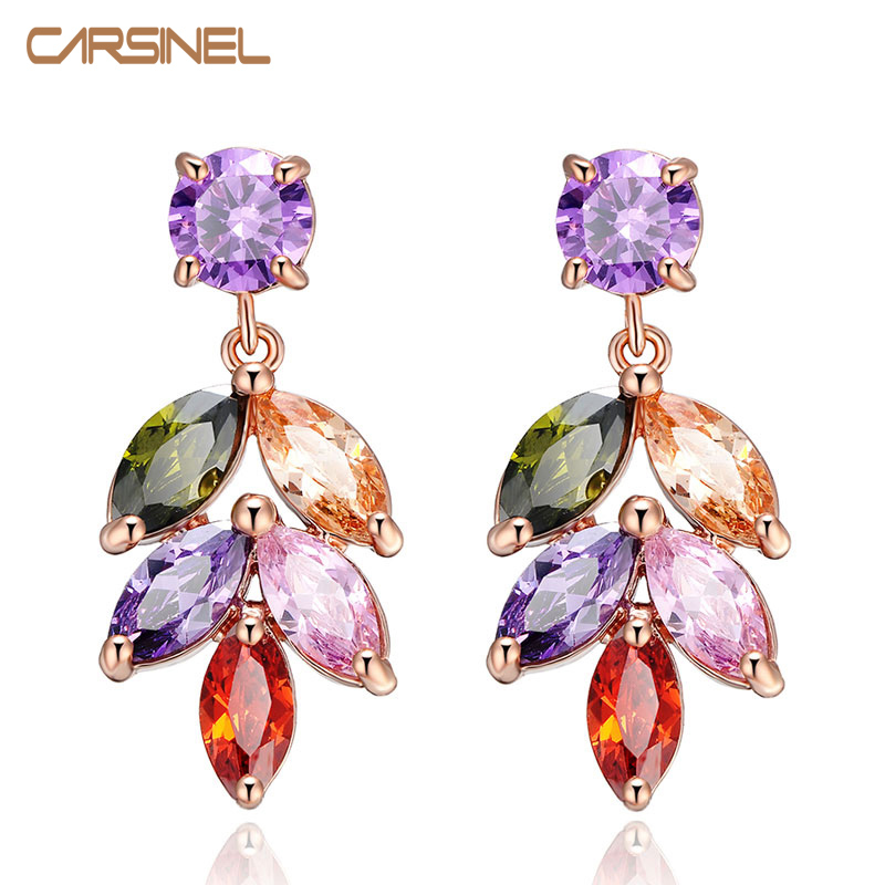 CARSINEL Trendy Colorful Crystal Stud Earrings Rose Gold color Leaves Flower Cubic Zircon Fashion Jewelry Earrings for Women