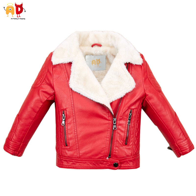 AD Fleece Leather Girls Jacket for Winter Soft Warm Boys Leather Coat Motorcycle Outwear Children's Clothing assassin s creed brotherhood final faith black flag unity desmond thick fleece men boys outwear winter warm hoodie coat jacket