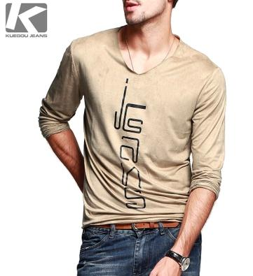 c15f2f631da1 Autumn men cotton t shirt arrival ,Suede feel V-neck with full sleeve,casual  top for fashionable men 2033