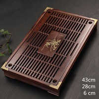 Solid Wooden Tea Tray Drainage water storage kung fu tea set with Drawer tea table Chinese tea room board ceremony tools