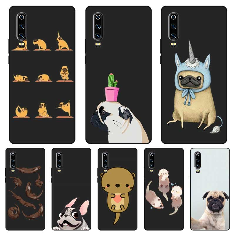 P157 Otters And Pug Black Silicone Case Cover For Huawei P8 P9 P10 P20 P30 Lite Pro P Smart Plus 2017 2019