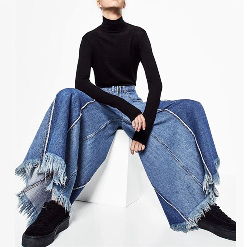 Heyouthoney vintage casual boyfriend high waist women denim wide leg tassel jeans pantalones vaqueros mujer pants trouser
