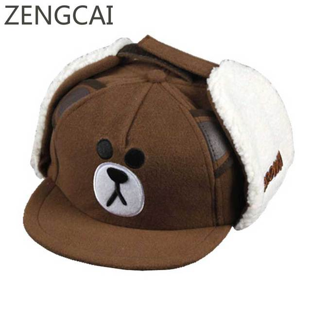 Bear Baseball Cap Kids Winter Snapback With Ears Cartoon Earflaps Boys Hat  Cute Children Warm Caps Girls Ribbit Embroidery Hats 5b74b33ee64