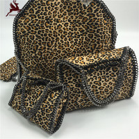 NEW Leopard Luxury High Quality Shaggy Deer Brand Exclusive Lady 3 Chain Fold Over Tote Europe