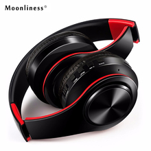 MoonlinessNew Arrival colorful stereo Audio Mp3 Bluetooth Headset Foldable Wireless Headphones Earphone support card with Mic