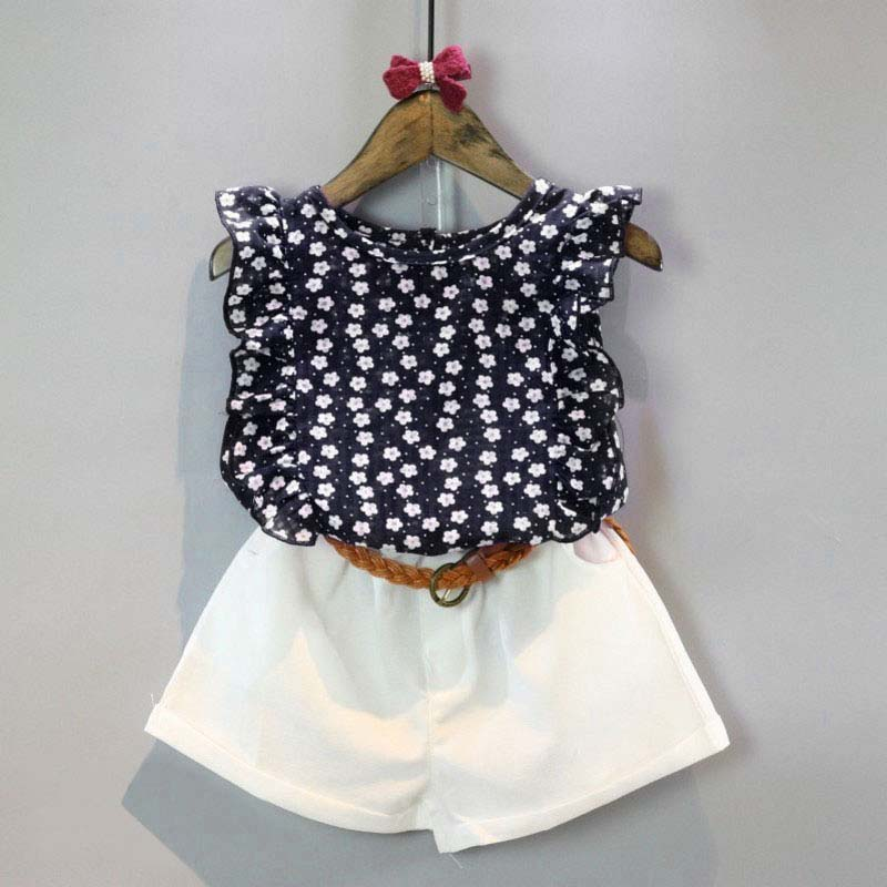78b5039a496 Newborns Baby Girls Clothes Sets Sleeveless Floral T-shirt + Shorts Suit  With Belt Baby