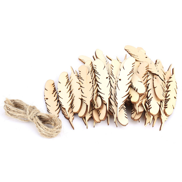 US $2 13 27% OFF|50Pcs/Bag Feather Wood Crafts For Wall Wedding Party Room  Decoration Woodwork For Scrapbooking Tree Card Crafts -in Figurines &