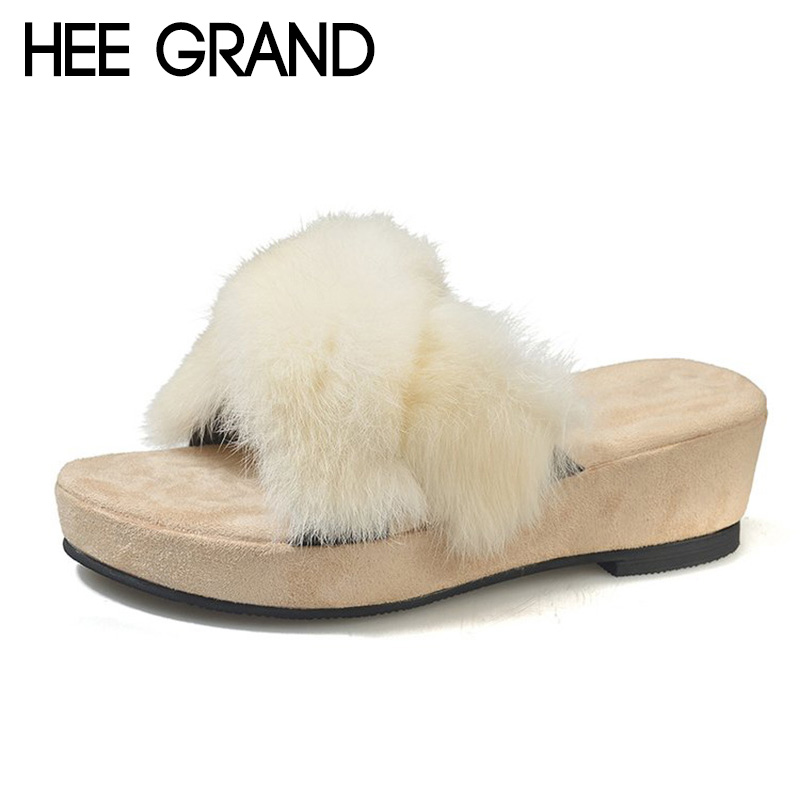 HEE GRAND Women 2018 Winter Fashion Slippers Causal Shoes Faux Fur Slip-on Medium Heels Women's Shoes Mujer Slippers XWT1403 hee grand 2018 new fashion flats shoes women oxfords faux fur pu leather solid mother causal slip on british style shoes xwd6955