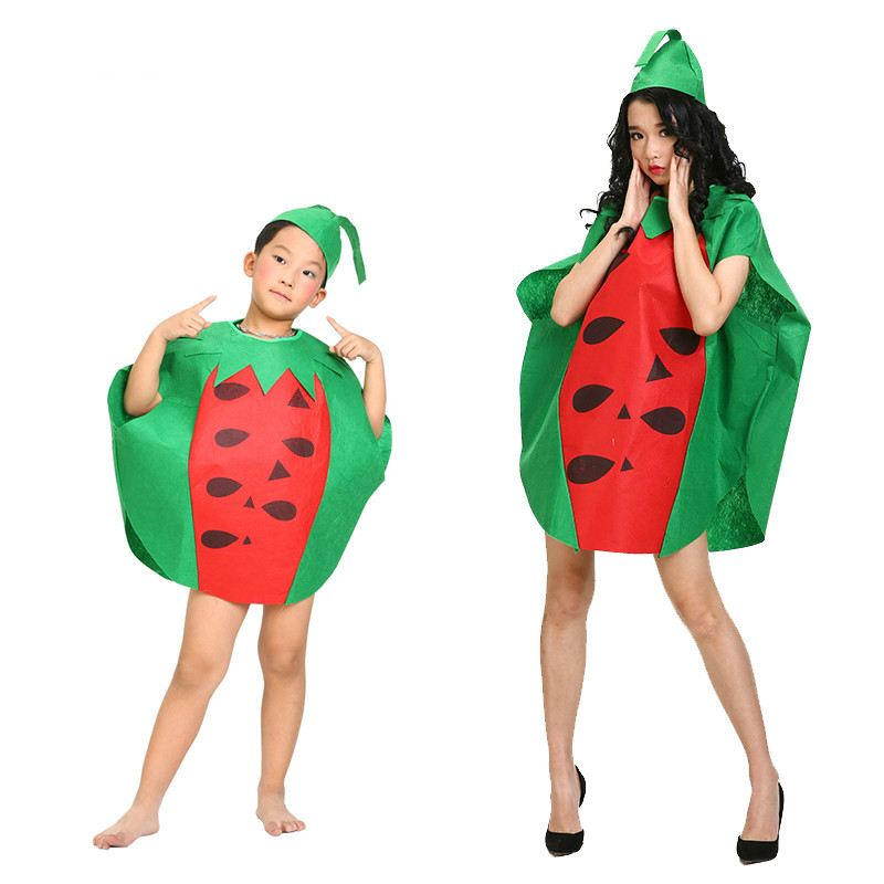 Children Adults Halloween Party Children's Day Cartoon Fruit Watermelon Costumes Cosplay Clothes for Boy Girl