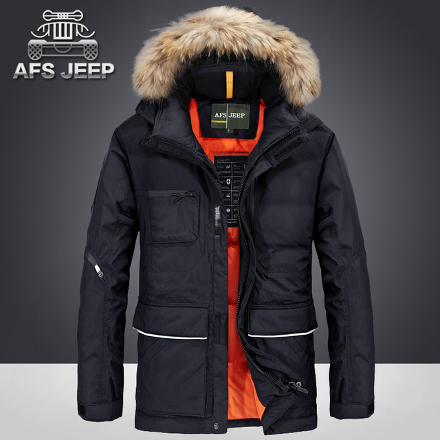 0c590fc8a456 AFS JEEP 2017 80% White Duck Down New Thickening Winter Jacket Men Fashion  Casual Handsome Warm Parka Coat