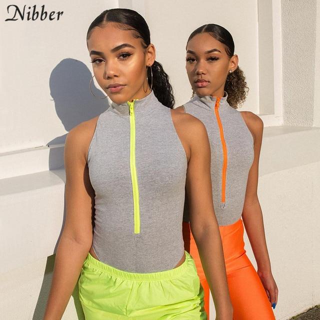 Nibber women summer sleeveless Casual Milk silk bodysuits fashion zipper o-neck Elastic design ladies Basic Solid color jumpsuit