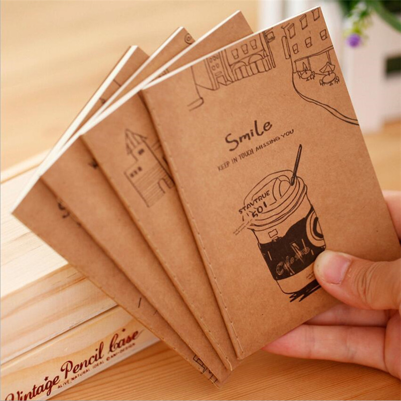 16sheet Retro Kraft Paper Notepad 64K Small Book Soft Copybook Daily Memos Kraft Cover Journal Notebooks Wholesale