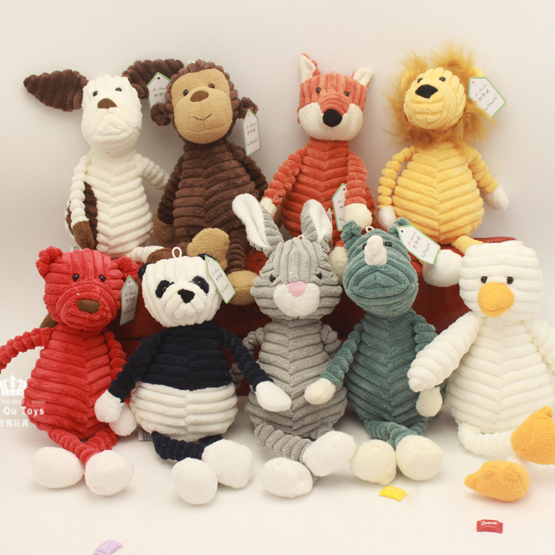 Baby Elephant Lion Fox Rabbit Pig Panda Duck Monkey Soft Stuffed Toys Cute Torest Animal Plush Toy For Kids Stripe(China)