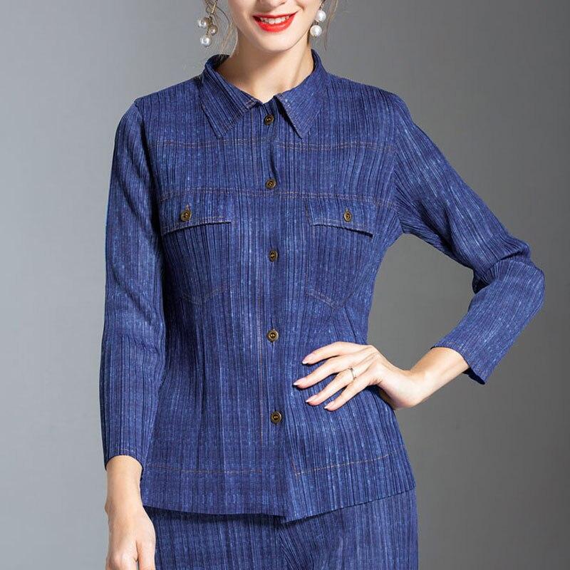 Changpleat 2018 New Autumn high-end fashion women   Basic     Jackets   coat Miyak Pleated Slim Turn-down Collar Female Coats Fashion T9