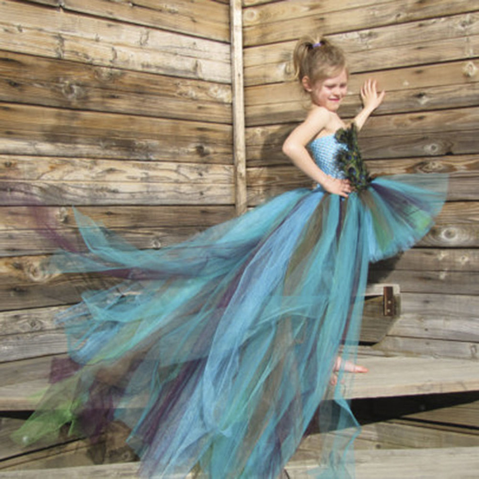 Handmade Peacock Feathers Girl Tutu Dress Long Trailing Evening Dress Kid Girls Gowns Dress For Party Pageant Birthday Photoprop вечернее платье long evening dress pageant mermaid evening dress
