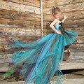 Hecho a mano de Plumas de Pavo Real de La Muchacha Del Tutú Muchachas del Cabrito del Vestido Largo Que Arrastra el Vestido de Noche Vestido de Los Vestidos De Partido Del Desfile de Cumpleaños Photoprop