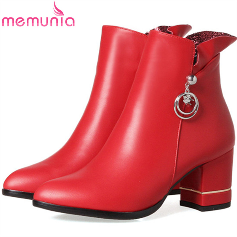 MEMUNIA Plush size 34-43 ankle boots for women fashion boots in spring autumn high heels boots female womens shoes PU zip memunia large size 34 44 ankle boots for women fashion boots female in spring autumn med heels shoes pu zip solid hot sale