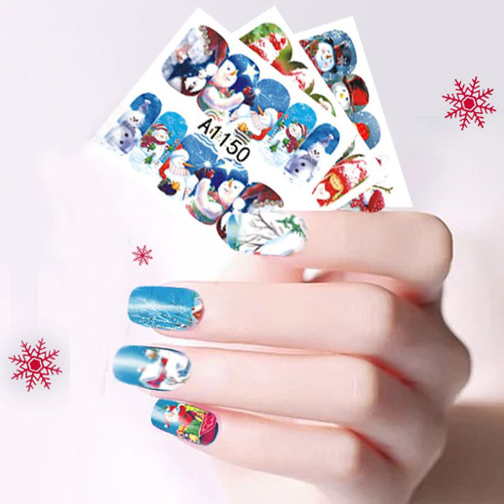 Santa Claus Nail Art: 12 Sheet Christmas Snowman Santa Claus Nail Art Water