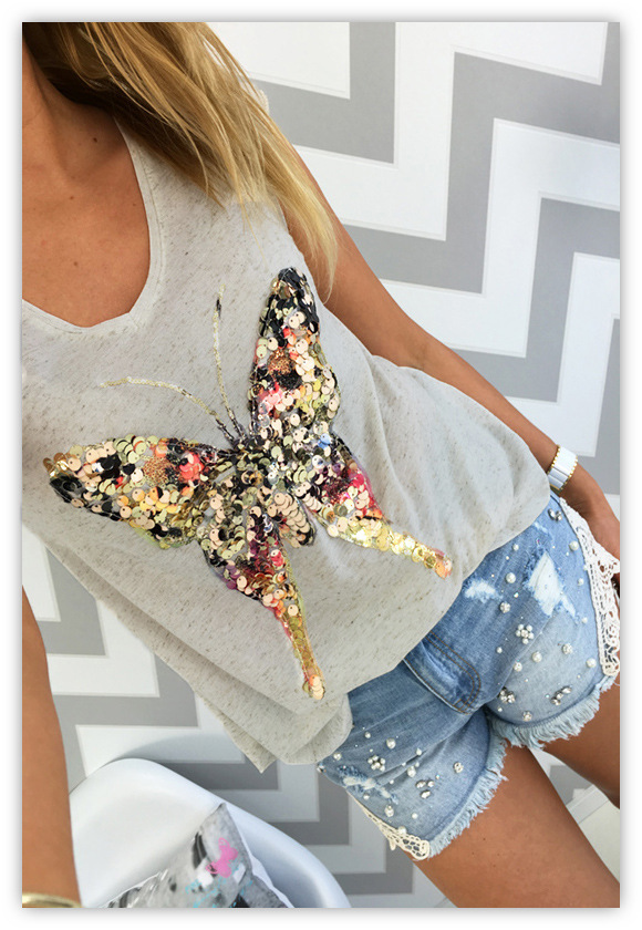 Tops & Tees 2018 Summer T Shirts For Women 3d Sequined Butterfly Short Sleeve Grey T Shirt Kawaii Womens Clothing Summer Tops Cute Tees Women's Clothing