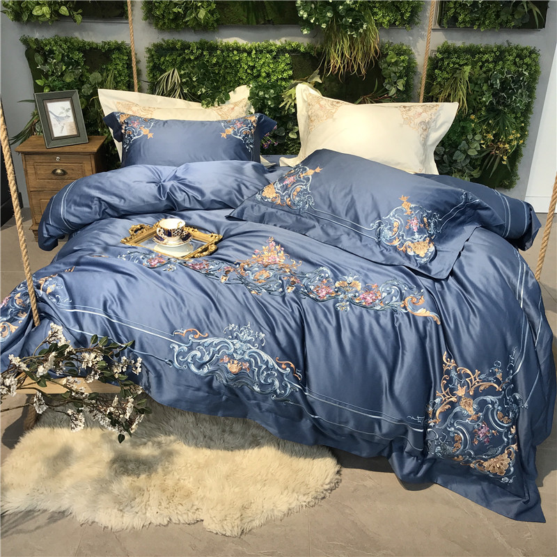 Blue White Gray Luxury 100S Egyptian Cotton Royal Embroidery Palace Bedding Set Duvet Cover Bed Sheet Bed Linen Pillowcases 4pcs