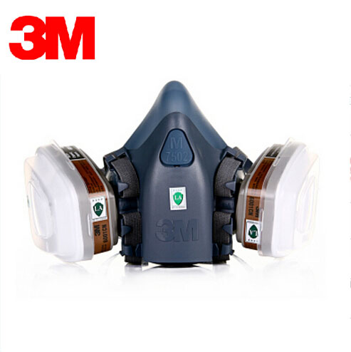 3M 7501+6001 Original Respirator Half Face Mask Painted Activated Carbon Organic Vapor Gas Benzene CS2 Acetone XK008 3m 7501 6005 half facepiece reusable respirator mask formaldehyde organic vapor cartridge 7 items for 1 set xk001