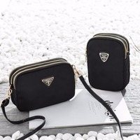 Women Fashion Oxford Material Coin Purses Simple Black Small Shoulder Bag Lady Mini Wallet
