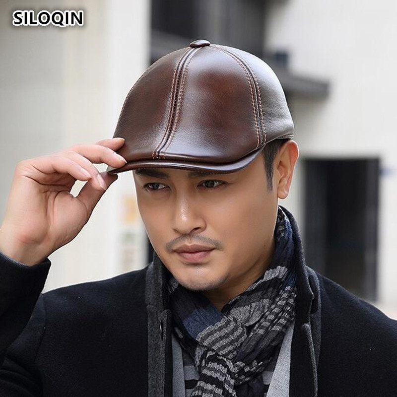 SILOQIN  Men's Winter Genuine Leather Hat First Layer Cowhide Berets  Male Bone Keep Warm Earmuffs Leisure Tongue Cap Dad Hats