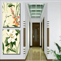 Diy Oil Painting By Numbers Flowers Two Picture Combination Hand Painted Painting On Canvas Home Decor