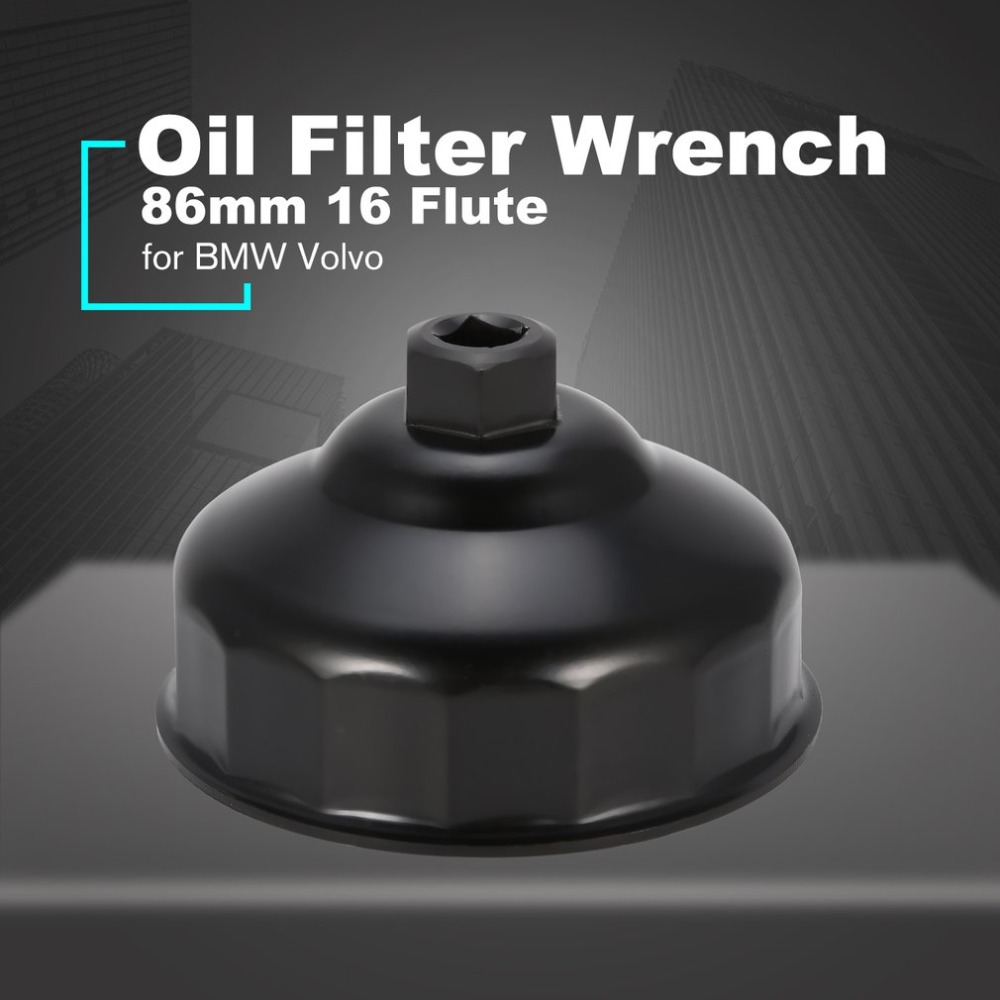 Oil Filter Wrench 86mm 16 Socket Cap Mini Remover Tool for BMW Volvo Car Black