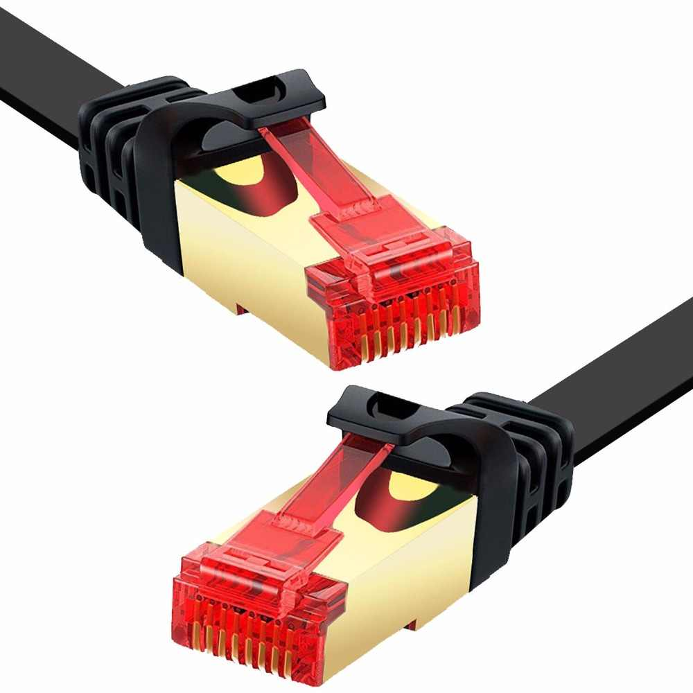ANNNWZZD CAT6 LAN Network Cable Flat RJ45 High Speed Patch Cord STP Gigabit with Gold Plated Lead for Switch/ Router/ Modem/