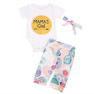 New 2017 Cute Newborn Infant Baby Girls Short Sleeve Bodysuit Floral Pants Clothes