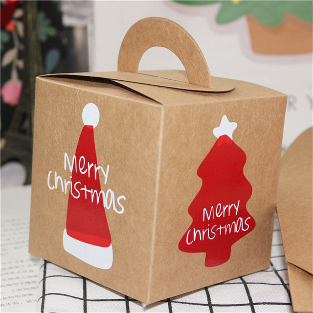 30 Pcslot Merry Christmas Brown Kraft Paper Box Craft Gift Box For