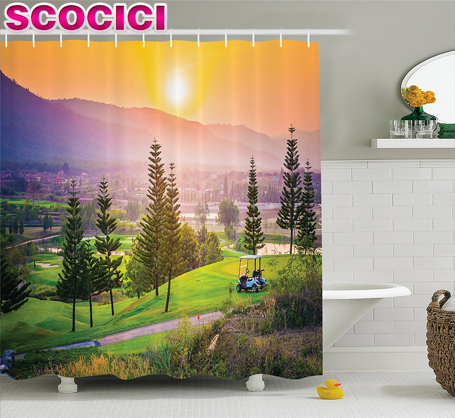 Farm House Decor Shower Curtain Vibrant Golf Resort Park In Spring Season With Trees Sunset Hills And Valley Fabric Bathroom Dec