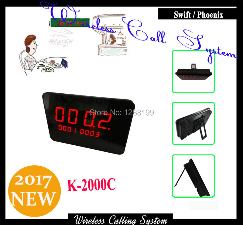 Wireless Customer Service display for wireless calling system for restaurant to work with wireless call button wireless table call bell system k 236 o1 g h for restaurant with 1 key call button and display receiver dhl free shipping