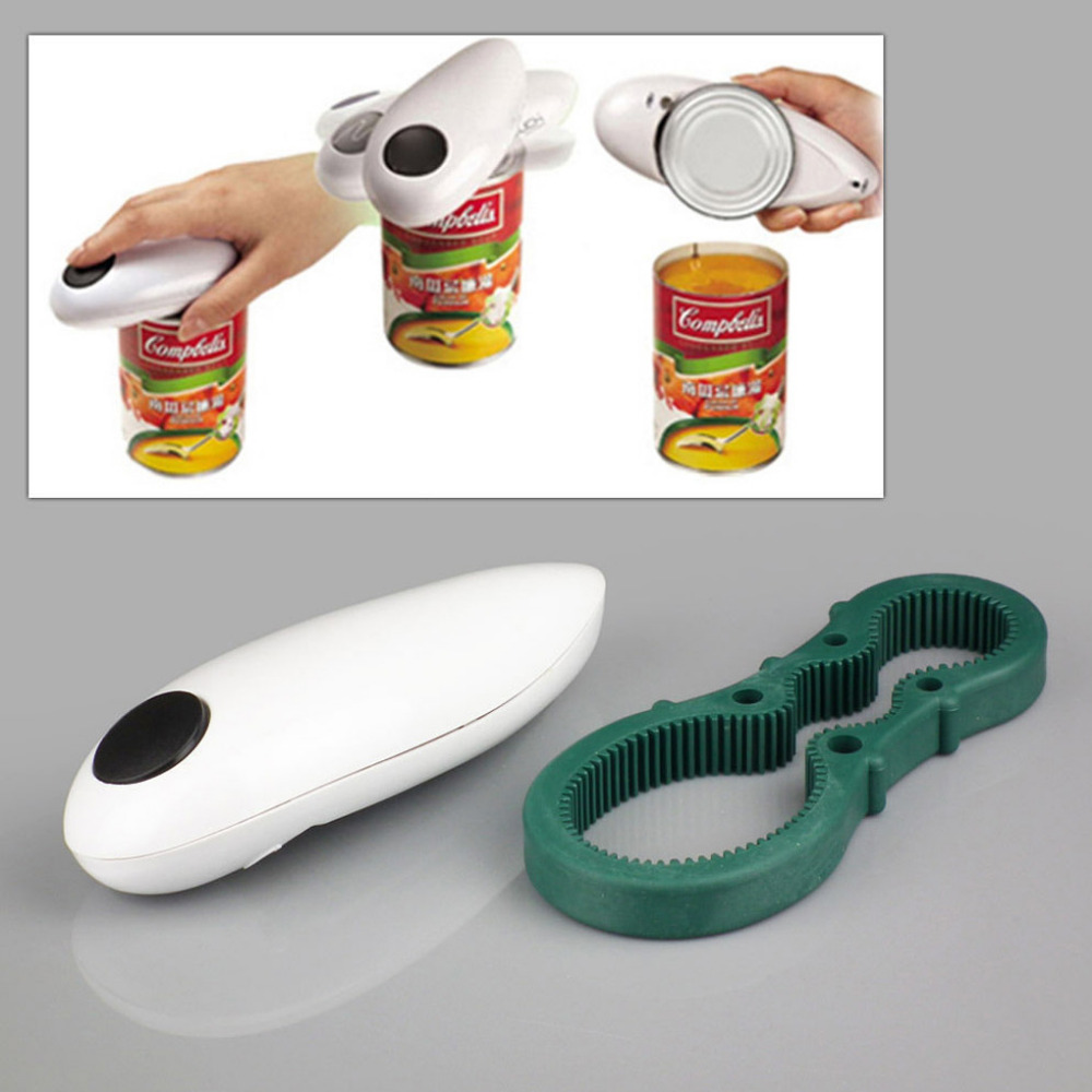 Useful One Touch Automatic Electric Can Tin Bottle Opener &Bottle Wrench No Hands Battery Operated
