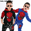 2016 New Retail Spiderman Kids Clothing Sets Children Fashion Cartoon Summer Shirt + Pants Boys Tees Pants Suit Free Shipping