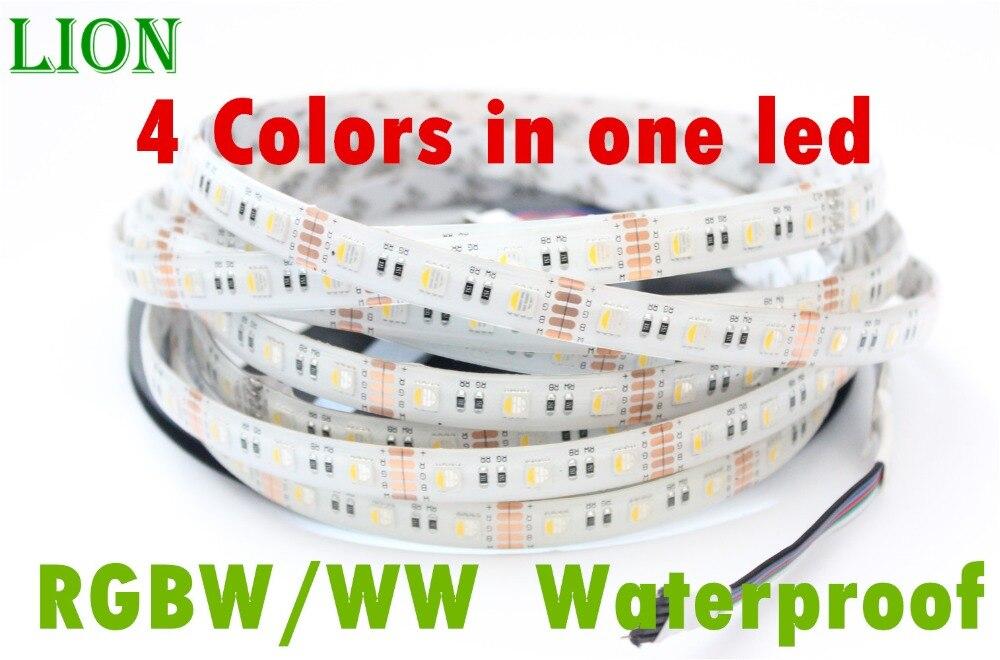 a782f5021b9 Impermeable IP65 5 M 4 colores en 1 LED DC12V 12mm PCB SMD 5050 rgbw tira  de luz LED RGB + blanco caliente blanco PCB